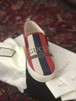 99ef150e NEW! GUCCI 'SYLVIE' Logo Red White Blue Slip-On Sneaker Men 9 US 8 UK  MSRP$630