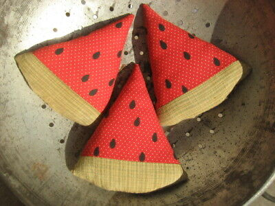 Primitive Americana Watermelon Slices Set of 3 Summer July 4th Bowl Fillers (W2)