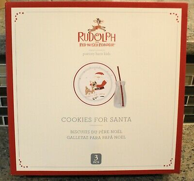New Pottery Barn Kids Christmas RUDOLPH Red Nosed Reindeer COOKIES FOR SANTA Set