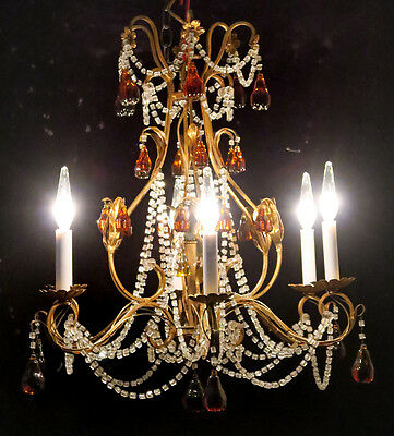 Antique MACARONI Italy Gilt TOLE Metal Amber Vintage Crystal Glass Chandelier