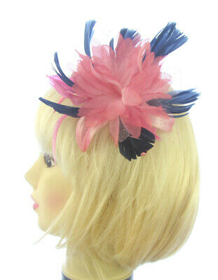 Hair fascinator  in pink & navy  blue comb suitable for weddings, races,prom