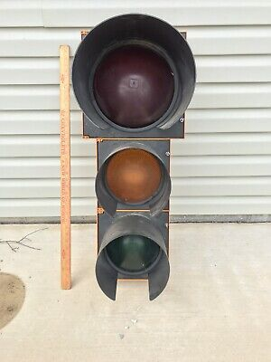 "Genuine Signal Traffic Stop Light With Wires & With Hoods No Bracket 14""x17""x34"""