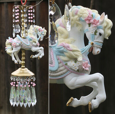 Porcelain Pony Horse Carousel Lamp swag Chandelier Vintage Crystal beaded Rose