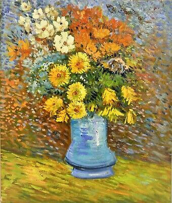 Vincent van Gogh Flowers in Blue Vase reproduction Oil Painting On Canvas