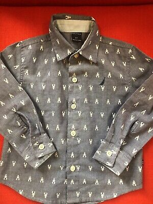 Nautica Toddler Boys Size 2t Blue Button Down Shirt With Lobsters Pre-Owned