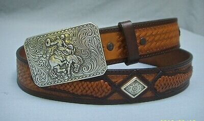 Justin Tooled Leather Western Belt Sz 36 With Nocona Bucking Bronco Buckle