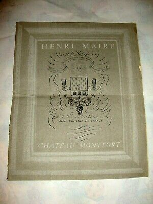 VINS HENRI MAIRE CHATEAU MONTFORT. BROCHURE CATALOGUE Illustrée