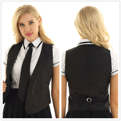 Fashion Women Sleeveless Button Economy Dressy Suit Fitted V-Neck Vest Waistcoat