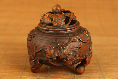 unique chinese old boxwood hand carved pumpkin incense burner