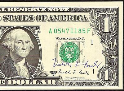 UNC 1988A $1 DOLLAR SIGNED AUTOGRAPHED WEB FED EXPERIMENTAL PRESS NOTE Fr 1917-A