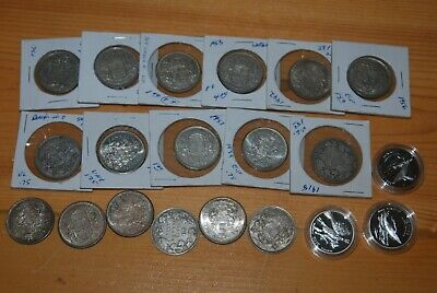 Weeda Canada 1918-1965 silver 50 cents, 1998-2000 proof sterling, see scans