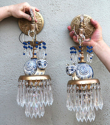PAIR Porcelain CAT beaded crystal Sconces Brass vintage lamp prisms cool looking