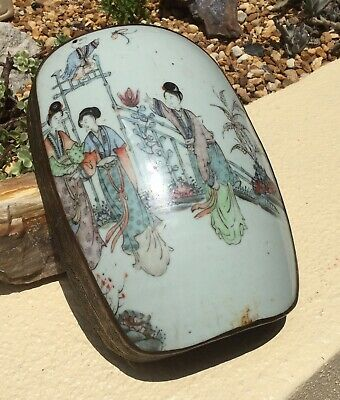 ANTQ CHINESE ASIAN HAND PAINTED PORCELAIN & SILVER FILIGREE BOX w LOVELY WOMEN