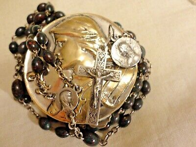 ANTIQUE Sterling Silver ROSARY Nouveau French Blood Stone Joan Arc Box Vintage