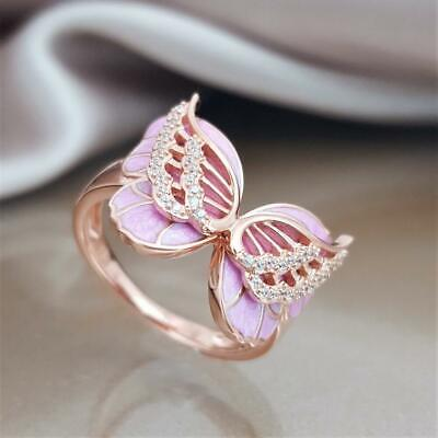 18K Rose Gold Plated Pink Enamel Butterfly Jewelry Engagement Ring Gift Sz5-10