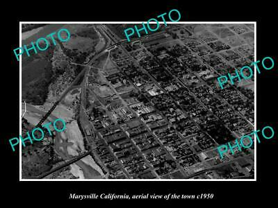 OLD LARGE HISTORIC PHOTO MARYSVILLE CALIFORNIA, AERIAL VIEW OF THE TOWN c1950