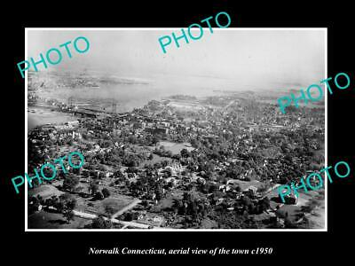 OLD LARGE HISTORIC PHOTO NORWALK CONNECTICUT, AERIAL VIEW OF THE TOWN c1950