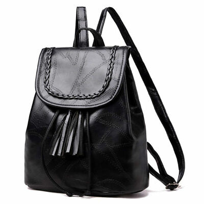 Fashion Women Black Backpack Travel Faux Leather Handbag Zipper Shoulder Bag JFG