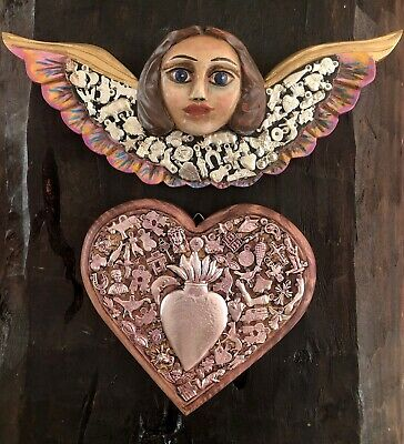 MILAGROS HEART + Painted Wood Angel Set Cherub Charms Miracles Mexican Folk Art