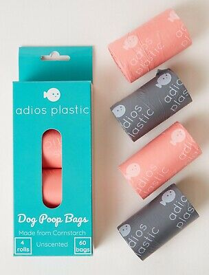 60 Adios Plastic Compostable Dog Poo Bags Made with corn starch Plant Based