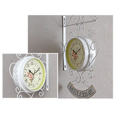 Bracket Wall clock Station Retro White Iron Cockerel Bell Outdoor High Quality