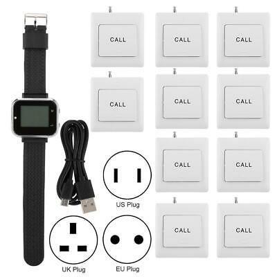 1xWireless Caregiver Pager Smart Call Button 1 Wristwatch 10 Buttons Watch Pager