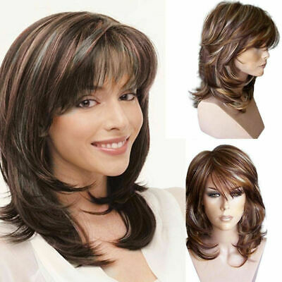 Women Brown Ombre Short Fluffy Curly Wigs Ladies Natural Wavy Hair Bob Wig UK