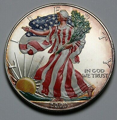 2000 US American Eagle 1oz Silver $1 Dollar Coin Colored - Nicely Toned