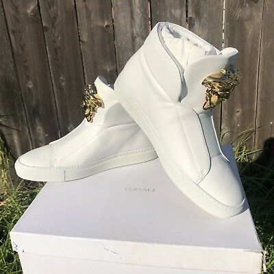 49b3dc1edb9 NIB$1075 Versace Palazzo Medusa Leather High Top Sneakers White Gold Sz  IT38 US8