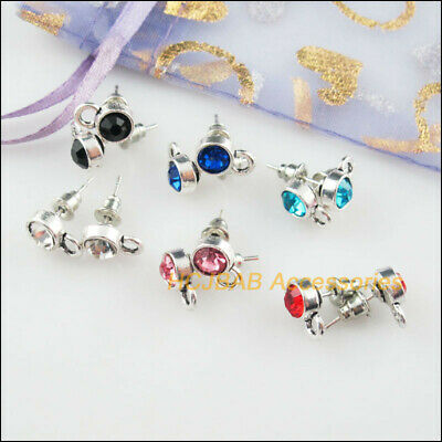12Pcs Tibetan Silver Round Mixed Crystal Wire Earrings Hooks Findings 7x10.5mm