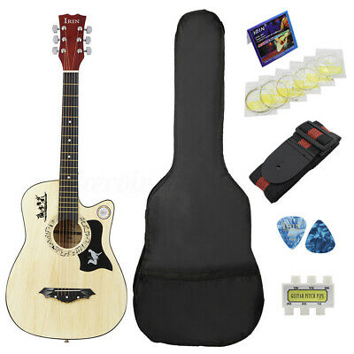 38'' 6 String Wood Acoustic Guitar Beginner Gift with Bag Picks Pitch Pipe Wood
