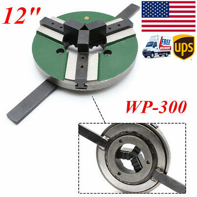 "12"" 3 Jaw 300mm Lathe Table Chuck  Self-centering Welding WP-300 Reversible USA"
