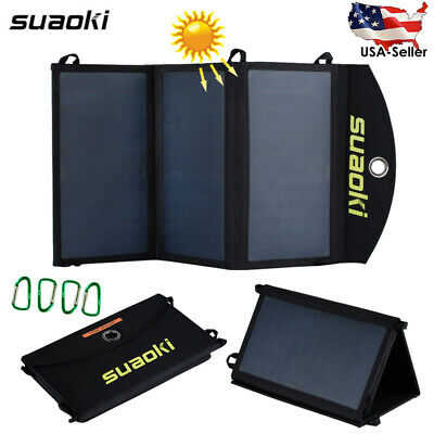 Suaoki 20W Foldable Solar Panel Battery Charger Dual USB Power Bank with 4 Hooks