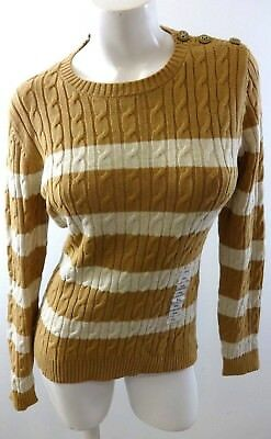 Nwt Charter Club Womens Sweet Cream Striped Cable Knit Sweater Size Pm