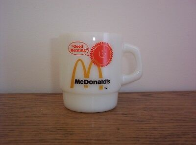 Vintage McDONALDS White Milk Glass Coffee Cup Mug Fire King Anchor Hocking EXC