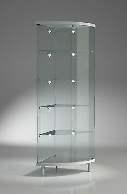 Oval Corner Display Cabinet with Lights Retail Glass Case Unit UK 53 x 190h cm