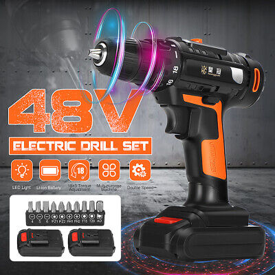 48V Electric Cordless Drill Rechargeable Driver Screwdriver +Battery & Screw Set