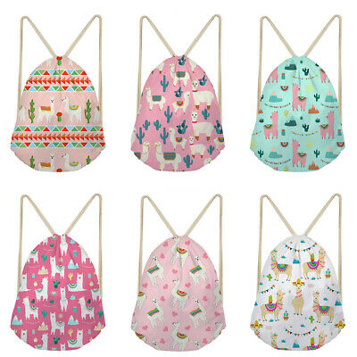 Alpaca Llama Aztec Print Backpack Drawstring Gym Bag Women Girls School Daypack