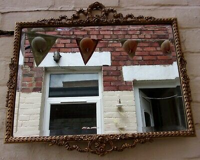 Large Vintage Gold Wall Mirror ~55 Yr Old wood French Baroque design~ 22''/56cm