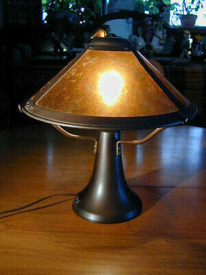 MICA LAMP COMPANY MISSION ARTS & CRAFTS MICA TABLE LAMP 1994 w TAG & INSTRUCTION