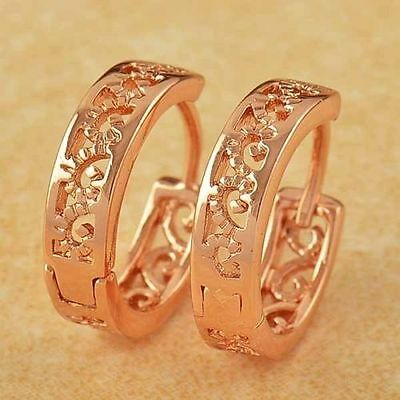 "Cute New 9K Rose Gold Filled Small 1/2"" Shiny Scroll Cutout Huggie Hoop Earrings"