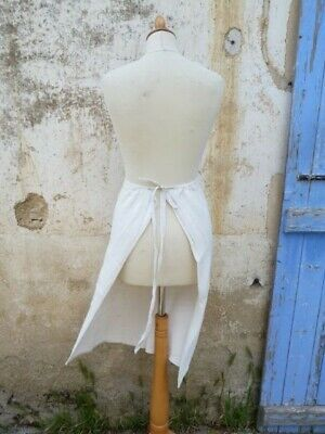 Antique 1900 old French cream 100 % handwoven thick linen apron supple