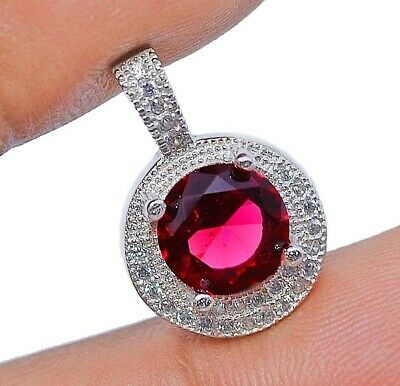 Top Quality 1CT Ruby & White Topaz 925 Sterling Silver Pendant Jewelry, V4