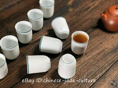 5 pairs Old Chinese Dehua Porcelian Cyan Glaze Wine Tea Cup Small Cups Sets
