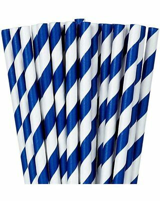 Bright Royal Blue Striped Paper Straws Pack Of 24 One Size