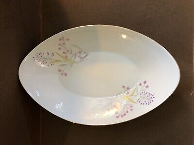 Fine Bohemian China Czechoslovakia Oval Serving Bowl BOH4 Spring Pink & Purple