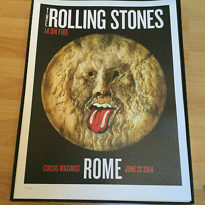 Rolling Stones europe poster lithograph Roma Italy 14 on FireTour 2014-no filter