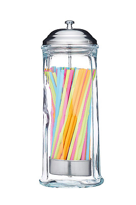 Barcraft Retro Glass Drinking Straw Dispenser with Approx. 100 Coloured Plastic