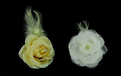 cream small flower clip and brooch pin , hair or jacket. weddings