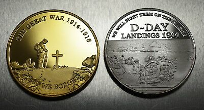 Pair of WW1 Armistice & WW2 Churchill D-Day Commemoratives. 24ct Gold, Silver